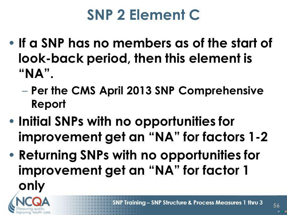 56 SNP Training – SNP Structure & Process Measures 1 thru 3 If a SNP has no members as of the start of look-back period, then this element is NA.