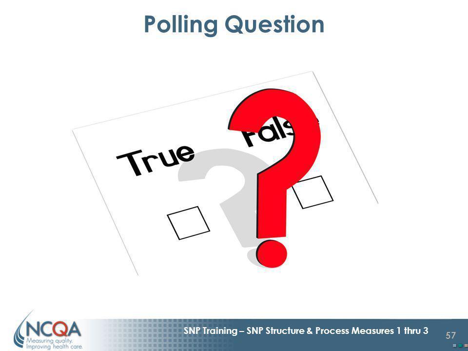 57 SNP Training – SNP Structure & Process Measures 1 thru 3 Polling Question