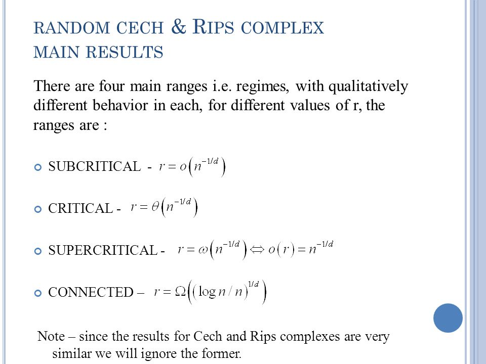RANDOM CECH & R IPS COMPLEX MAIN RESULTS There are four main ranges i.e.