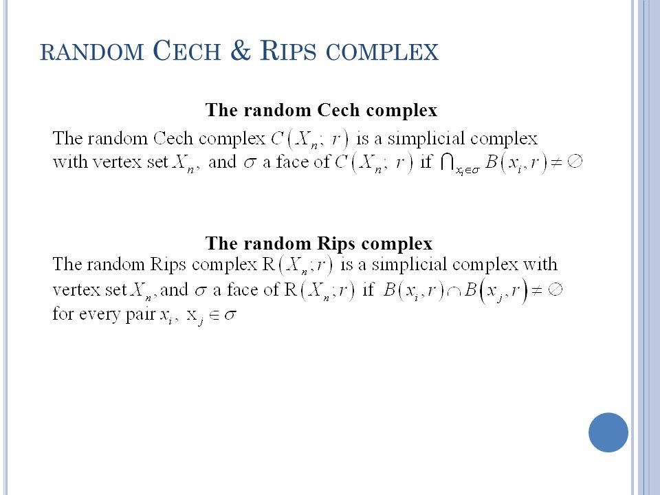RANDOM C ECH & R IPS COMPLEX The random Rips complex The random Cech complex