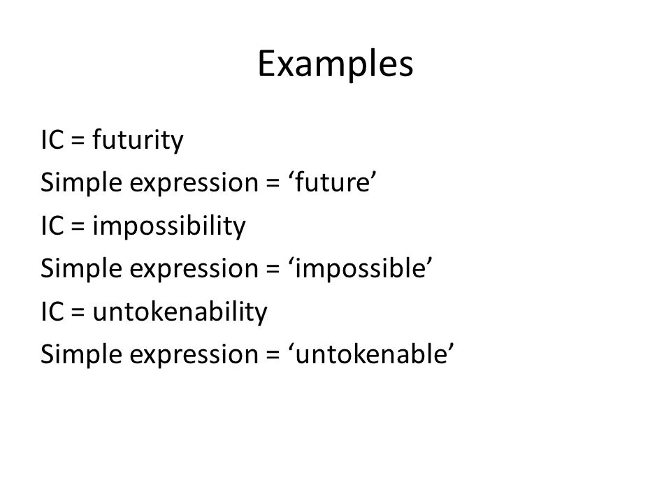 Examples IC = futurity Simple expression = future IC = impossibility Simple expression = impossible IC = untokenability Simple expression = untokenable