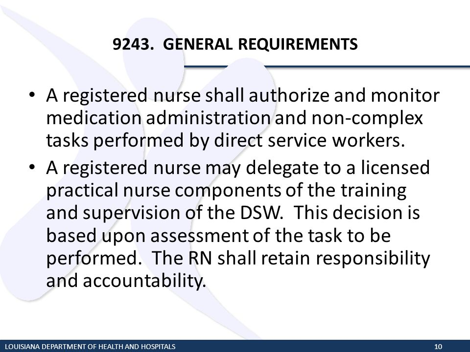 9243. GENERAL REQUIREMENTS A registered nurse shall authorize and monitor medication administration and non-complex tasks performed by direct service