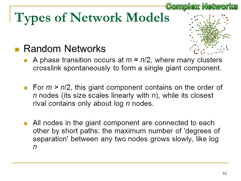 Types of Network Models Random Networks A phase transition occurs at m = n/2, where many clusters crosslink spontaneously to form a single giant compo