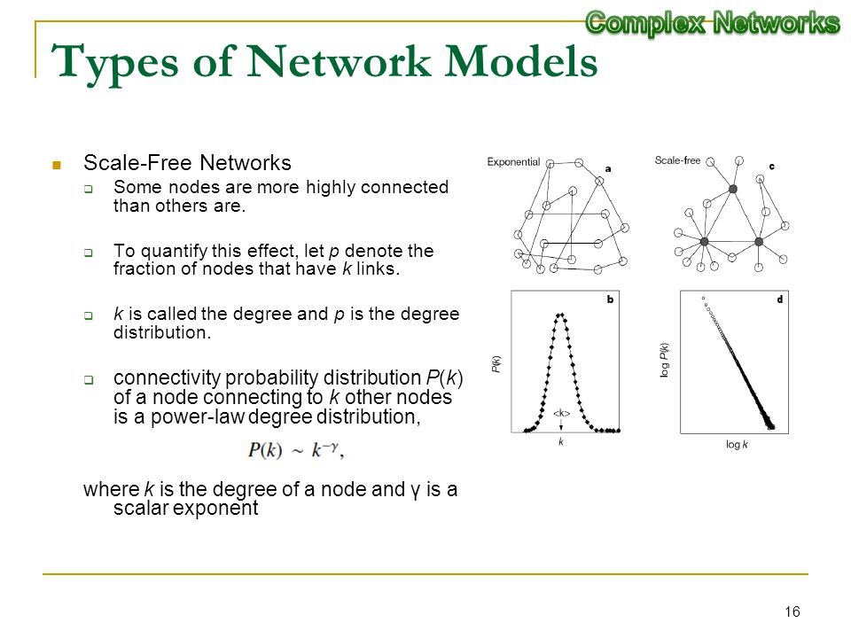 Types of Network Models Scale-Free Networks Some nodes are more highly connected than others are. To quantify this effect, let p denote the fraction o