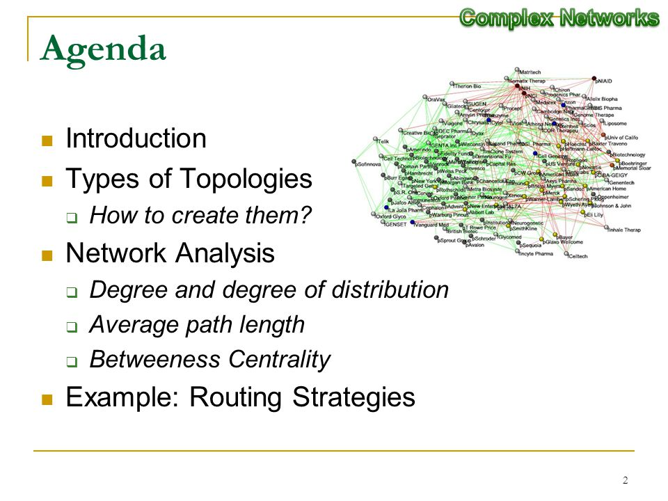 2 Agenda Introduction Types of Topologies How to create them? Network Analysis Degree and degree of distribution Average path length Betweeness Centra