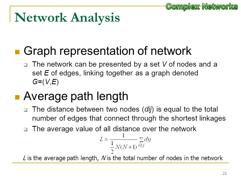 23 Network Analysis Graph representation of network The network can be presented by a set V of nodes and a set E of edges, linking together as a graph