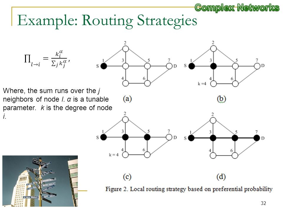 Example: Routing Strategies Where, the sum runs over the j neighbors of node l.