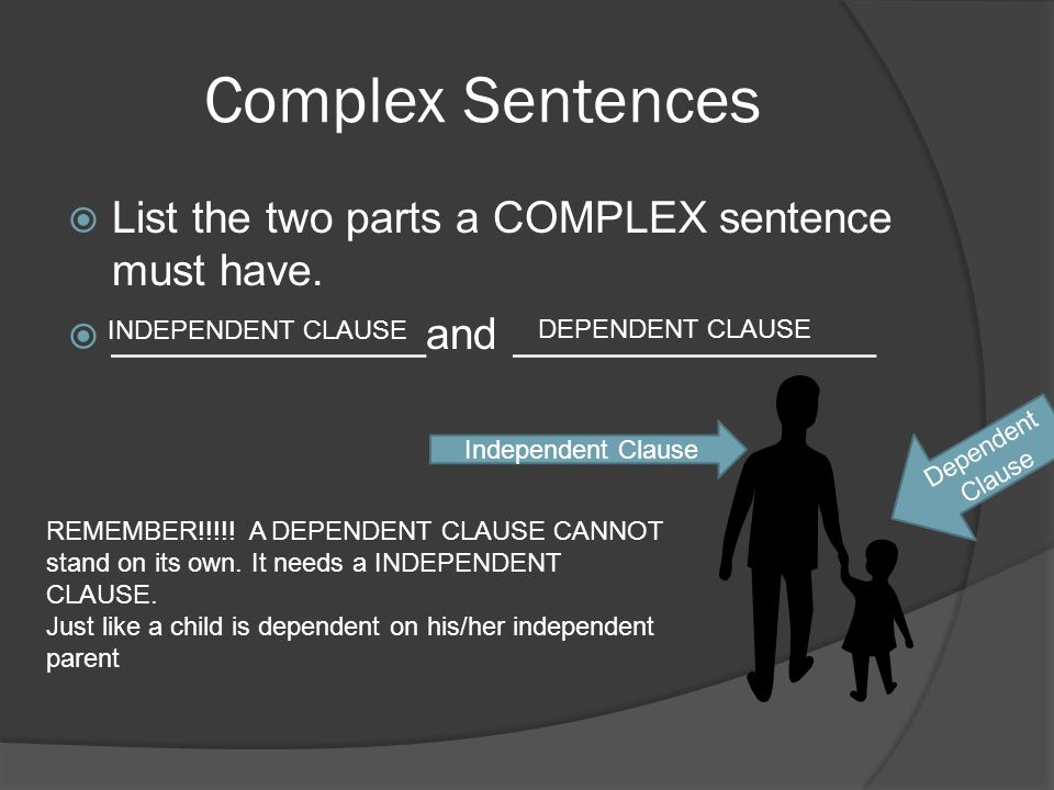 Complex Sentences List the two parts a COMPLEX sentence must have.