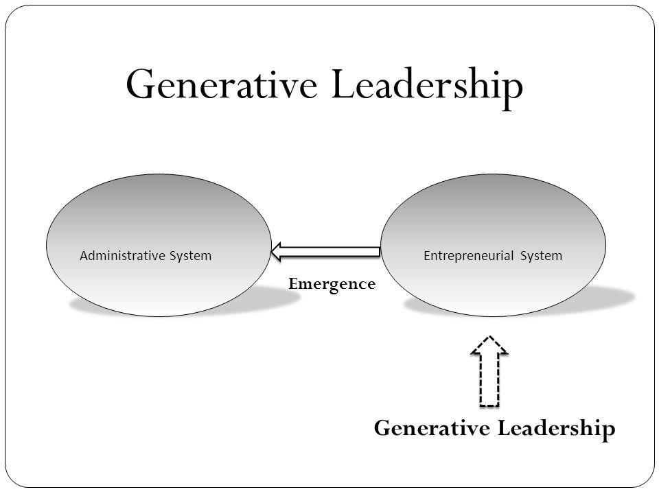 Administrative SystemEntrepreneurial System Emergence Generative Leadership