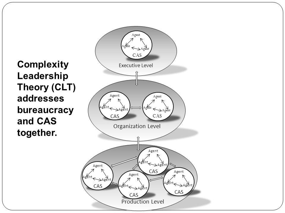 Organization Level Executive Level Production Level Agent CAS Agent CAS Agent CAS Agent CAS Complexity Leadership Theory (CLT) addresses bureaucracy a