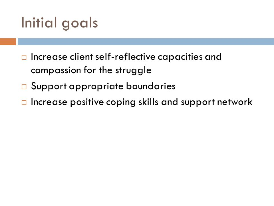 Initial goals Increase client self-reflective capacities and compassion for the struggle Support appropriate boundaries Increase positive coping skills and support network