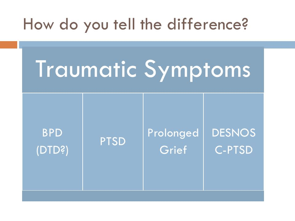 How do you tell the difference? Traumatic Symptoms BPD (DTD?) PTSD Prolonged Grief DESNOS C-PTSD