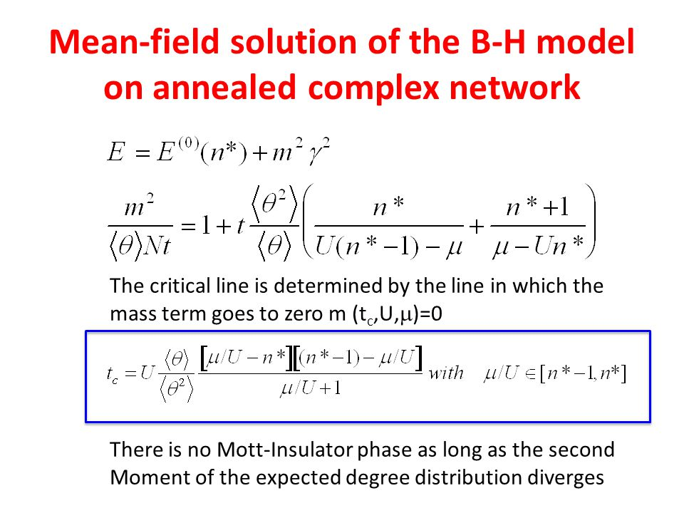 Mean-field solution of the B-H model on annealed complex network The critical line is determined by the line in which the mass term goes to zero m (t
