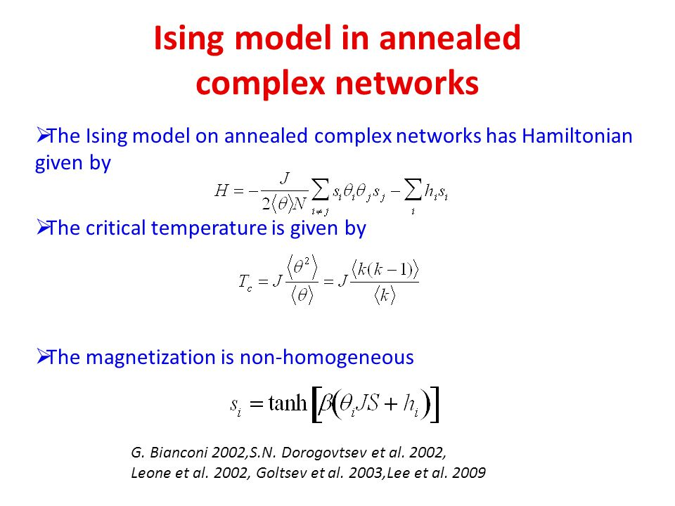 Ising model in annealed complex networks The Ising model on annealed complex networks has Hamiltonian given by The critical temperature is given by Th