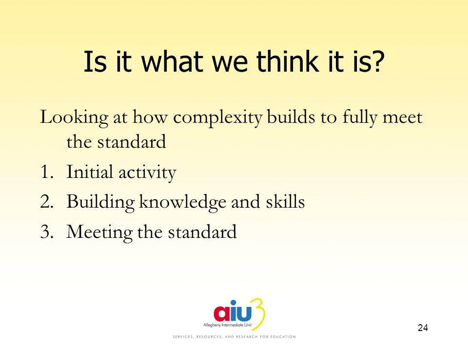Is it what we think it is? Looking at how complexity builds to fully meet the standard 1.Initial activity 2.Building knowledge and skills 3.Meeting th