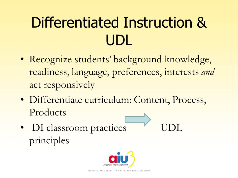 Differentiated Instruction & UDL Recognize students background knowledge, readiness, language, preferences, interests and act responsively Differentiate curriculum: Content, Process, Products DI classroom practices UDL principles