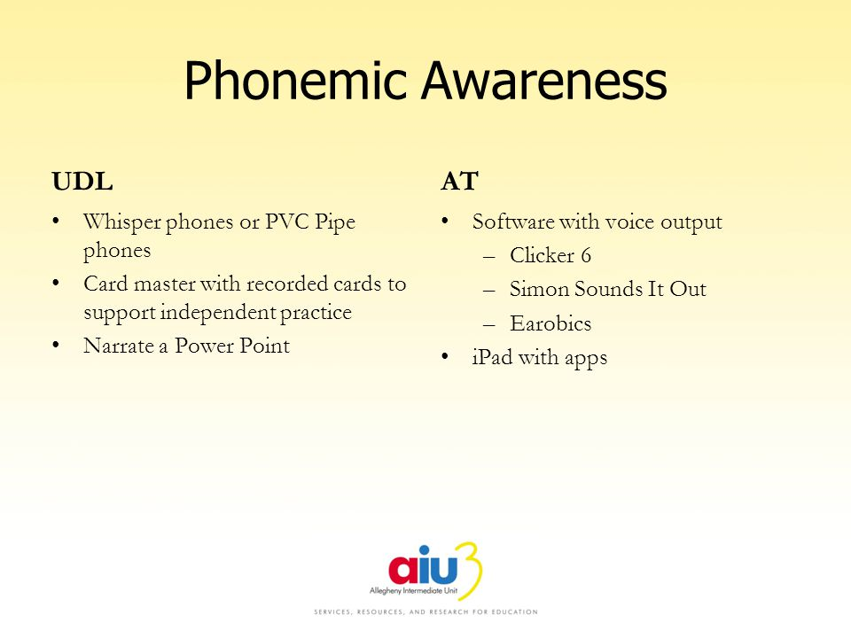 Phonemic Awareness UDL Whisper phones or PVC Pipe phones Card master with recorded cards to support independent practice Narrate a Power Point AT Software with voice output –Clicker 6 –Simon Sounds It Out –Earobics iPad with apps