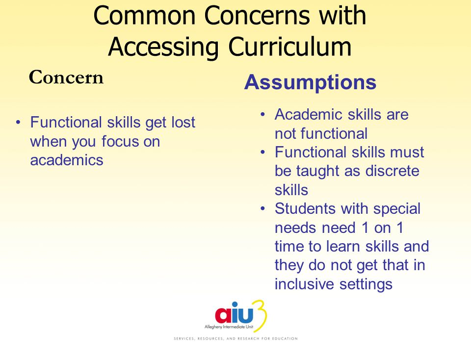 Common Concerns with Accessing Curriculum Concern Functional skills get lost when you focus on academics Assumptions Academic skills are not functional Functional skills must be taught as discrete skills Students with special needs need 1 on 1 time to learn skills and they do not get that in inclusive settings