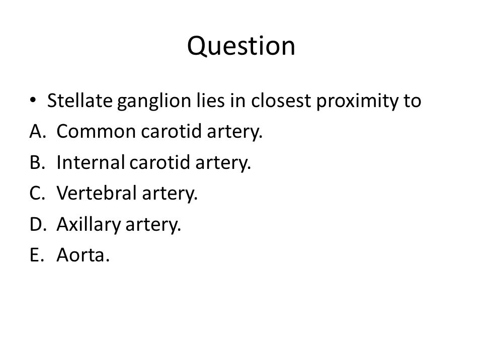 Question Stellate ganglion lies in closest proximity to A.Common carotid artery. B.Internal carotid artery. C.Vertebral artery. D.Axillary artery. E.A