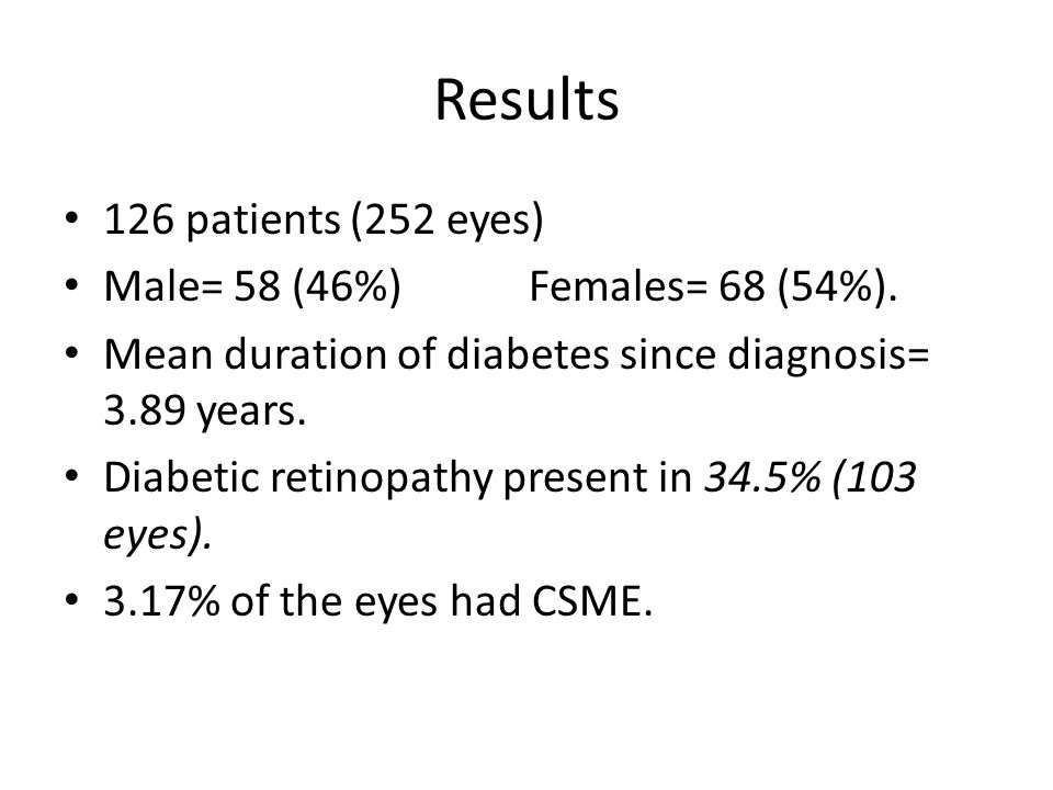 Results 126 patients (252 eyes) Male= 58 (46%) Females= 68 (54%).