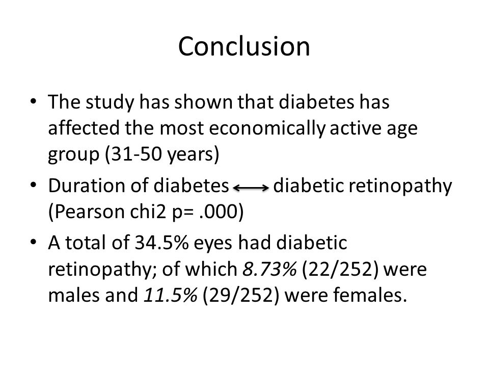 Conclusion The study has shown that diabetes has affected the most economically active age group (31-50 years) Duration of diabetes diabetic retinopat