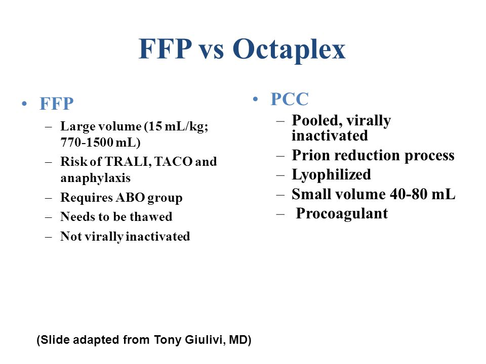 FFP vs Octaplex FFP –Large volume (15 mL/kg; 770-1500 mL) –Risk of TRALI, TACO and anaphylaxis –Requires ABO group –Needs to be thawed –Not virally in
