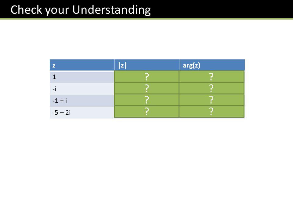 Check your Understanding z|z|arg(z) 110 -i1 - /2 -1 + i 2 3 /4 -5 – 2i 29 -2.761 ?? ?? ?? ??