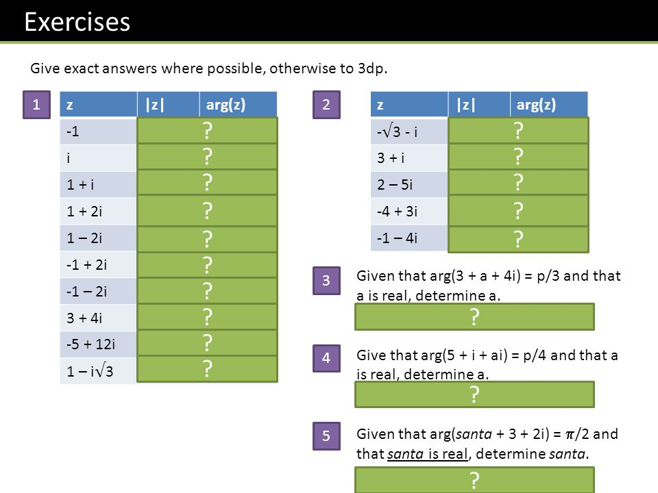 Exercises z|z|arg(z) 1 i1 /2 1 + i 2 p/4 1 + 2i 5 1.107 1 – 2i 5 -1.107 -1 + 2i 5 2.034 -1 – 2i 5 -2.034 3 + 4i50.927 -5 + 12i131.966 1 – i 3 7 - /3 Give exact answers where possible, otherwise to 3dp.