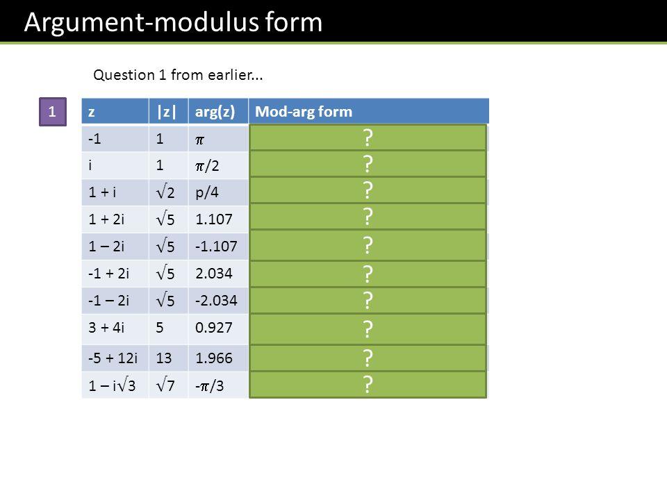 z|z|arg(z)Mod-arg form 1 z = cos + i sin i1 /2z = cos( /2) + i sin( /2) 1 + i 2 p/4 z = 2(cos( /4) + i sin( /4)) 1 + 2i 5 1.107 z = 5(cos 1.107 + i sin 1.107) 1 – 2i 5 -1.107 z = 5(cos(-1.107) + i sin(-1.107)) -1 + 2i 5 2.034 z = 5(cos 2.034 + i sin 2.034) -1 – 2i 5 -2.034 z = 5(cos(-2.034) + i sin(-2.034)) 3 + 4i50.927z = 5(cos 0.927 + i sin 0.927) -5 + 12i131.966z = 13(cos 1.966+ i sin 1.966) 1 – i 3 7 - /3 z = 7(cos(- /3) + i sin(- /3)) 1 Question 1 from earlier...