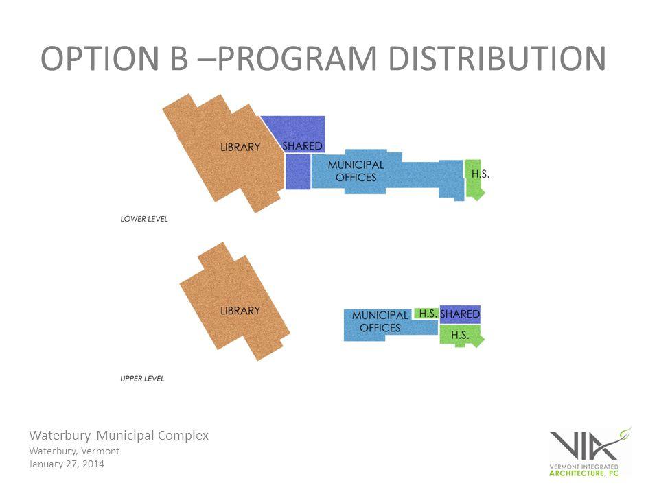 Waterbury Municipal Complex Waterbury, Vermont January 27, 2014 OPTION B –PROGRAM DISTRIBUTION
