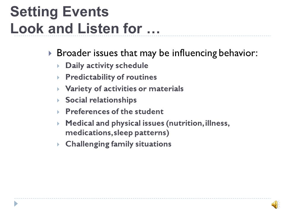 Types of Observations Descriptive and Anecdotal Recording (ABC) Antecedent Behavior Consequence 12:30 child sat next Sara hit child child left area- S