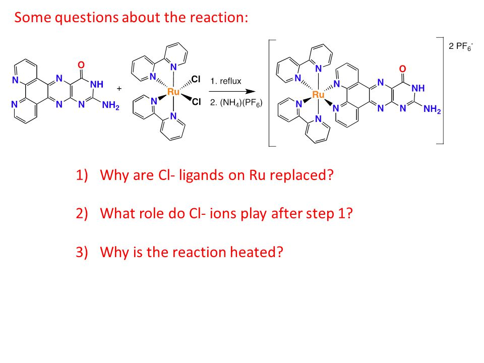 Some questions about the reaction: 1)Why are Cl- ligands on Ru replaced.