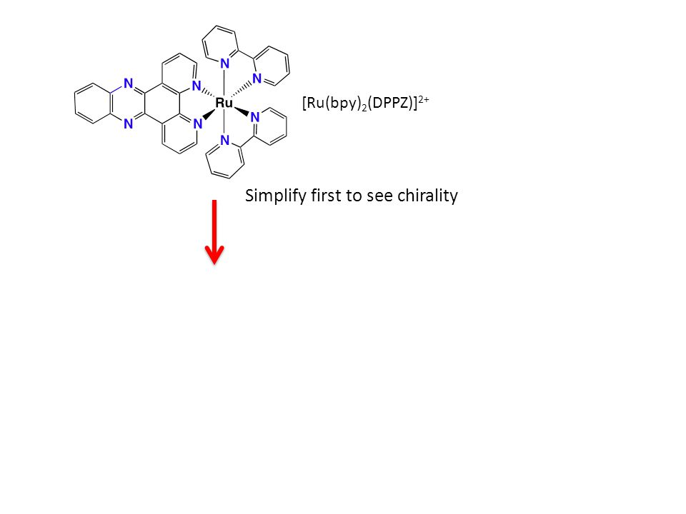 [Ru(bpy) 2 (DPPZ)] 2+ [Ru(bpy) 3 ] 2+ Simplify first to see chirality What is the point symmetry.