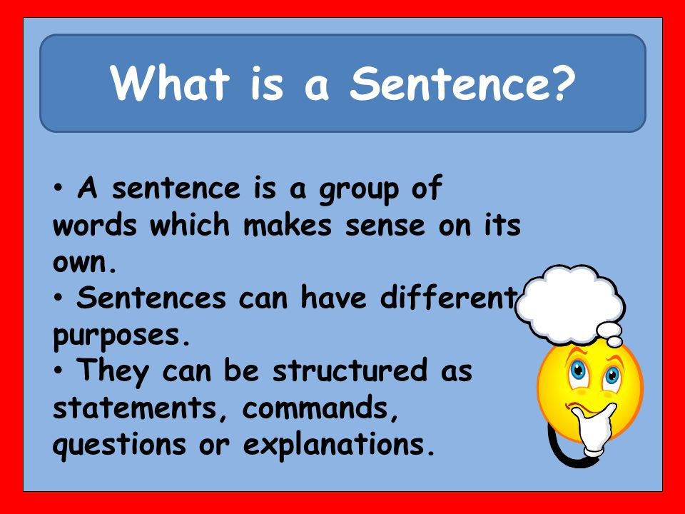 What is a Sentence. A sentence is a group of words which makes sense on its own.