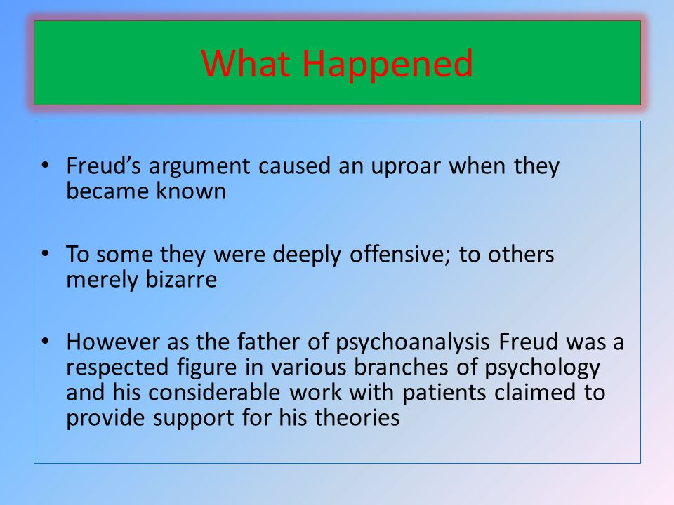 What Happened Freuds argument caused an uproar when they became known To some they were deeply offensive; to others merely bizarre However as the father of psychoanalysis Freud was a respected figure in various branches of psychology and his considerable work with patients claimed to provide support for his theories