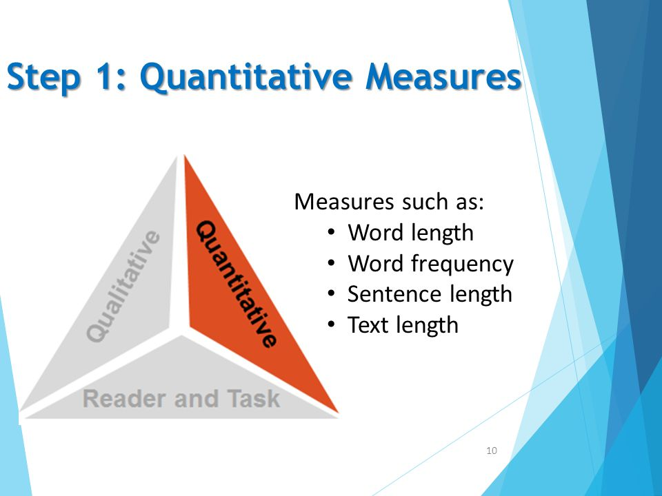 Step 1: Quantitative Measures 10 Measures such as: Word length Word frequency Sentence length Text length