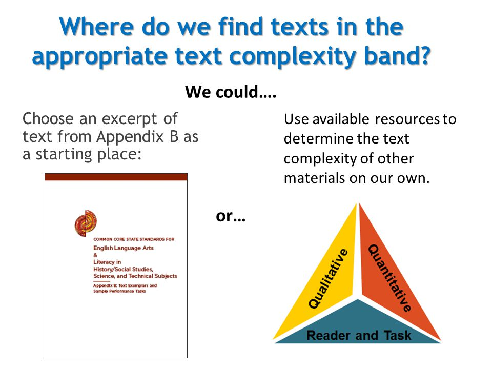 Where do we find texts in the appropriate text complexity band.