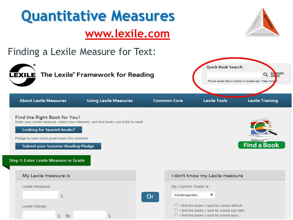 Quantitative Measures Finding a Lexile Measure for Text: http://www.lexile.com/findabook/ http://www.lexile.com/findabook/ 13 www.lexile.com