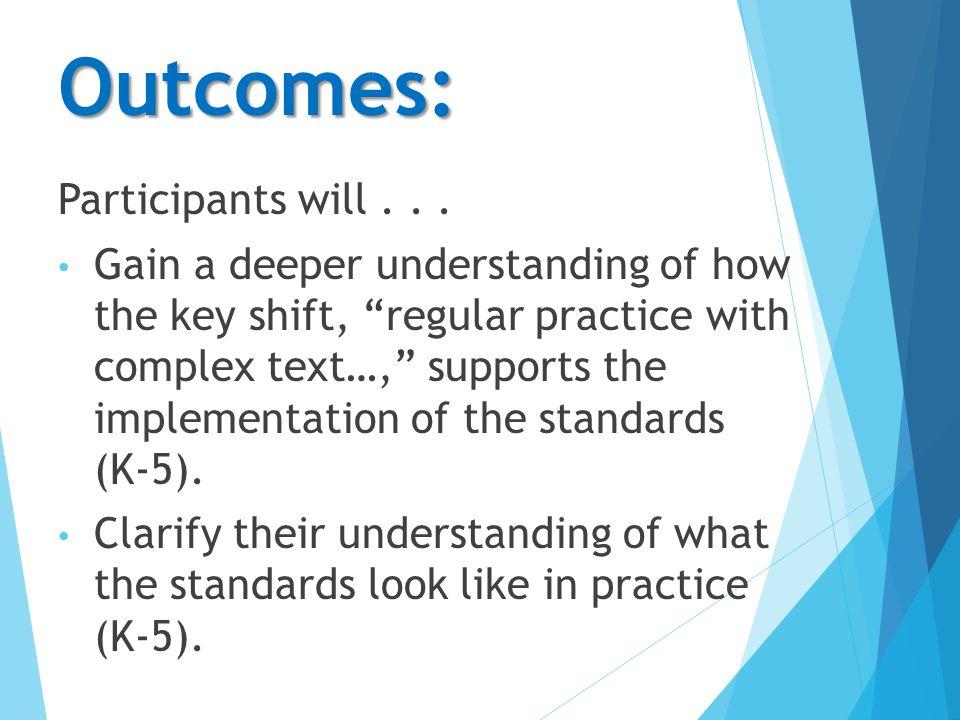 Outcomes: Participants will...