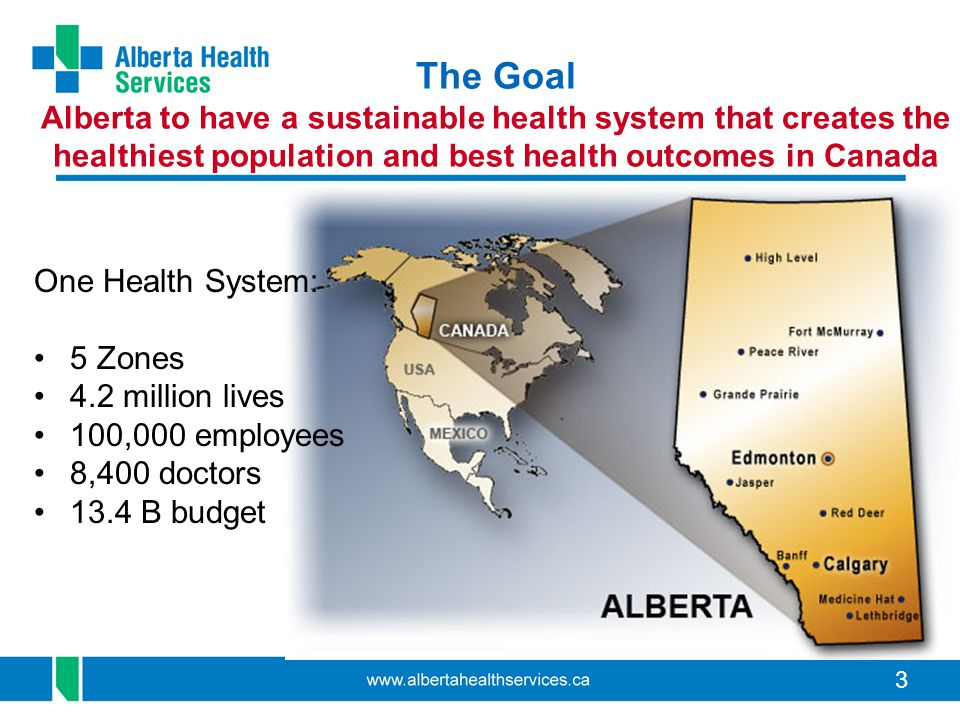 3 The Goal Alberta to have a sustainable health system that creates the healthiest population and best health outcomes in Canada One Health System: 5 Zones 4.2 million lives 100,000 employees 8,400 doctors 13.4 B budget