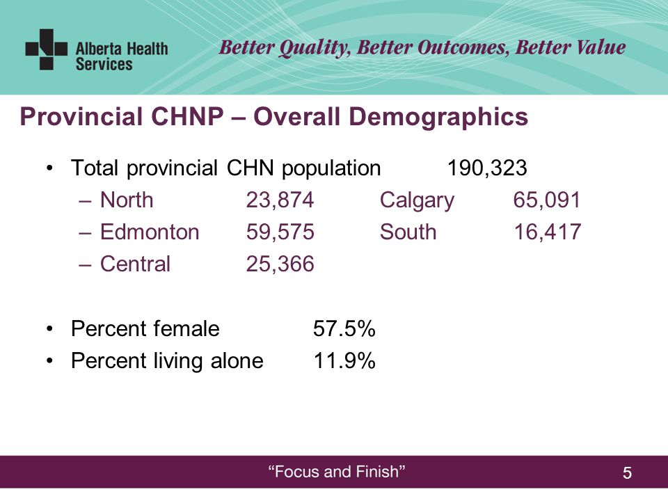 5 Total provincial CHN population190,323 –North23,874Calgary65,091 –Edmonton 59,575South16,417 –Central25,366 Percent female57.5% Percent living alone11.9% Provincial CHNP – Overall Demographics