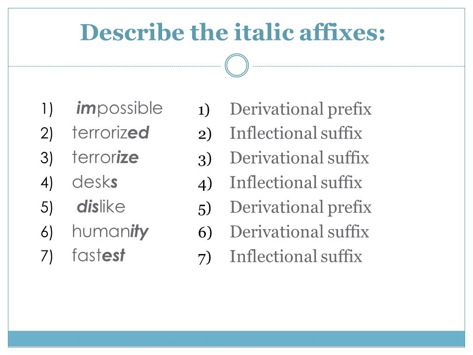 Describe the italic affixes: 1) im possible 2) terroriz ed 3) terror ize 4) desk s 5) dis like 6) human ity 7) fast est 1) Derivational prefix 2) Inflectional suffix 3) Derivational suffix 4) Inflectional suffix 5) Derivational prefix 6) Derivational suffix 7) Inflectional suffix