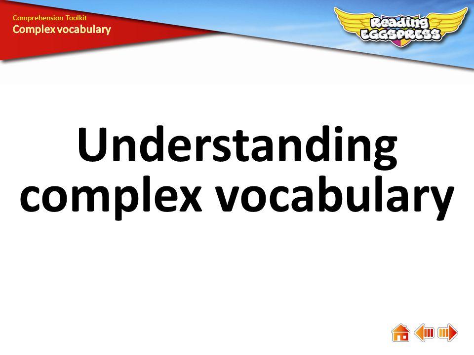 Understanding complex vocabulary Comprehension Toolkit