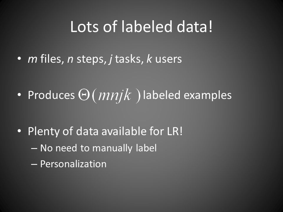 Lots of labeled data.