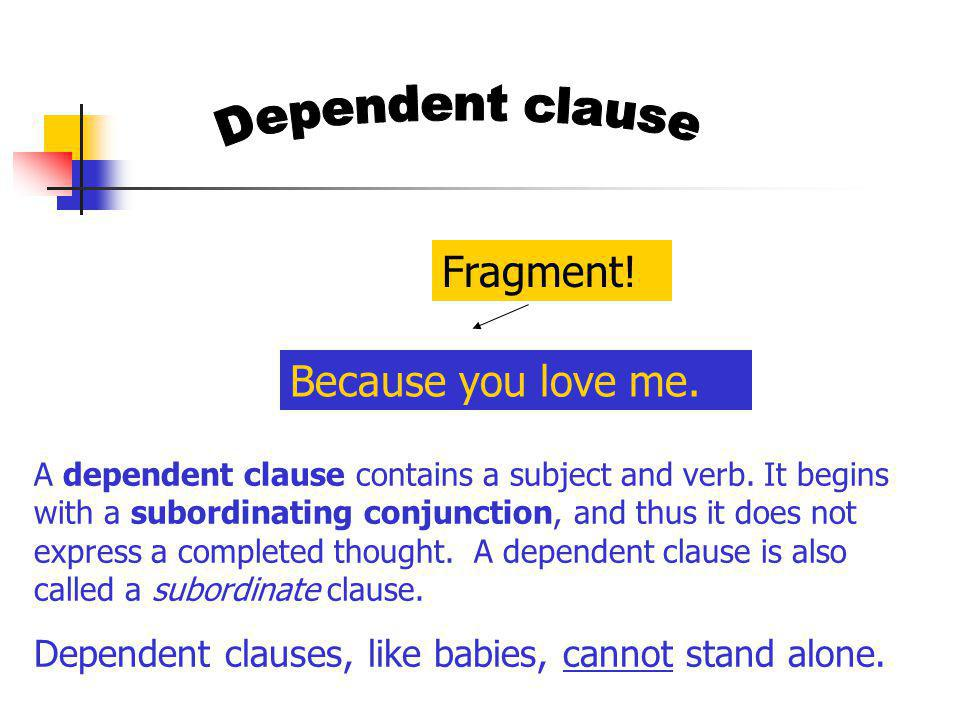 A dependent clause contains a subject and verb. It begins with a subordinating conjunction, and thus it does not express a completed thought. A depend