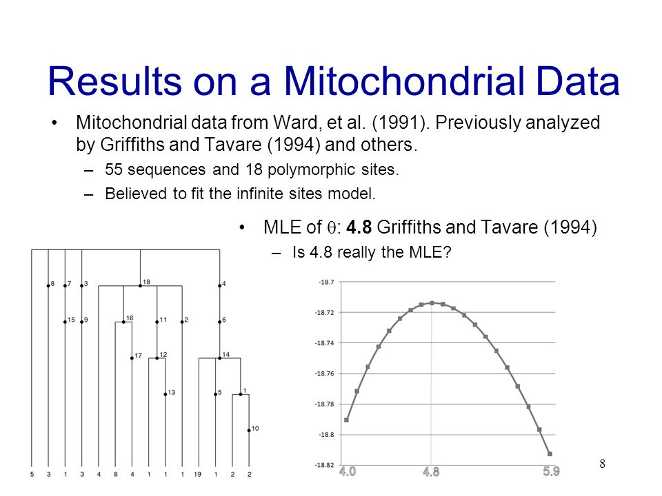 Results on a Mitochondrial Data Mitochondrial data from Ward, et al.