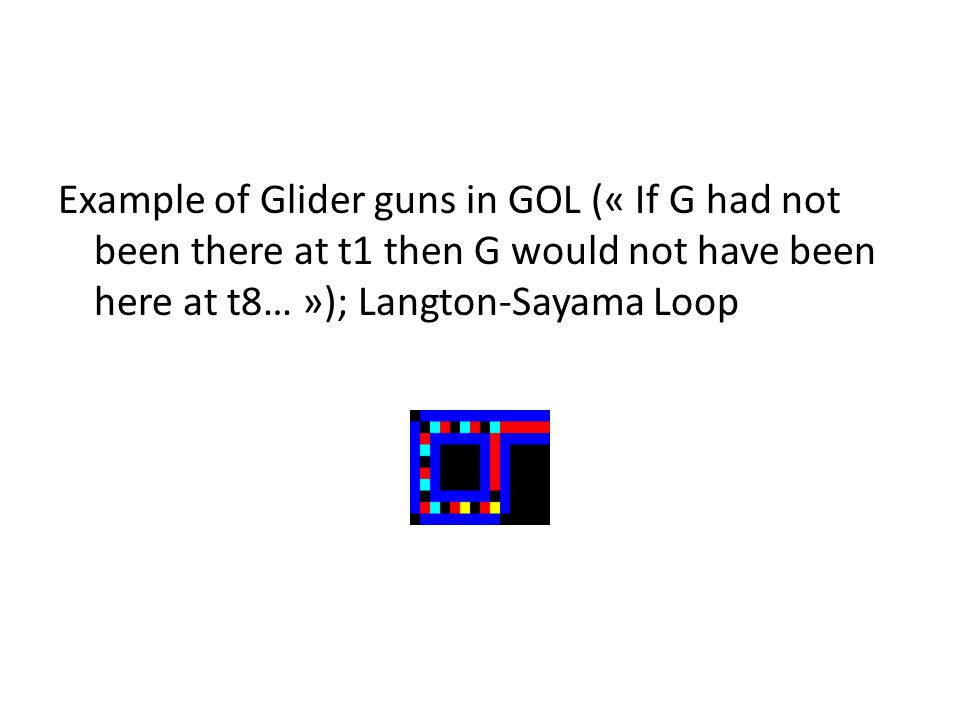 Example of Glider guns in GOL (« If G had not been there at t1 then G would not have been here at t8… »); Langton-Sayama Loop
