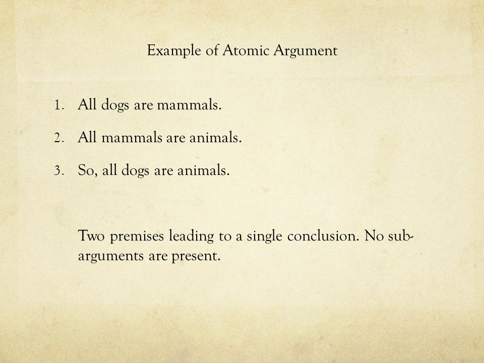 Example of Atomic Argument 1. All dogs are mammals. 2. All mammals are animals. 3. So, all dogs are animals. Two premises leading to a single conclusi