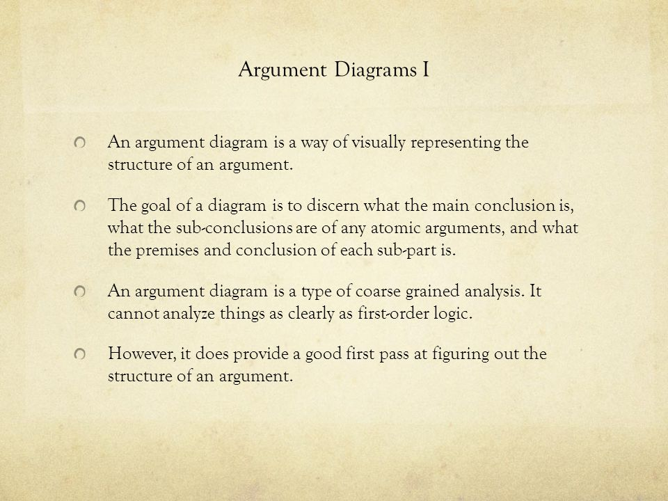 Argument Diagrams I An argument diagram is a way of visually representing the structure of an argument. The goal of a diagram is to discern what the m