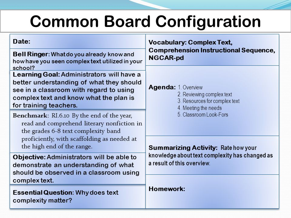 Common Board Configuration Date: Benchmark: RI.6.10 By the end of the year, read and comprehend literary nonfiction in the grades 6-8 text complexity